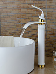 Contemporary Centerset Waterfall with  Ceramic Valve Single Handle One Hole for  Painting , Bathroom Sink Faucet