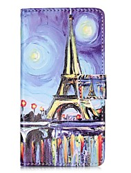 For HUAWEI P9 P8 Lite 5X 5C Y5II Y6II Case Cover Oil Painting Tower Pattern Painting Card Stent PU Leather Phone Case