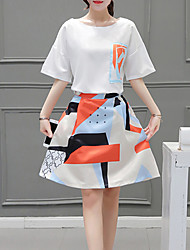 Для женщин На выход На каждый день Праздники Простое Очаровательный Уличный стиль А-силуэт Из двух частей Платье Контрастных цветов,