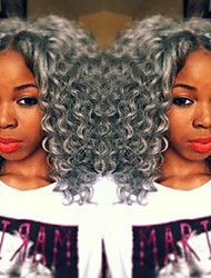 Grey Color Synthetic Lace Front Wig Kinky Curly Hair Heat Resistant Synthetic Fiber Hair Lace Wigs