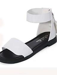 Damen-Flache Schuhe-Lässig-PU-Flacher Absatz-Komfort-Schwarz Weiß Champagner