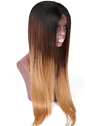 cor ombre 1b / 27 fio de cabelo humano sem cola peruca cheia do laço linha reta do Brasil