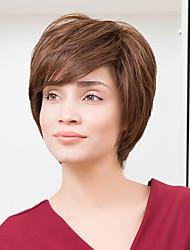 elegante textura ligeiramente cabelo sem tampa curto perucas de cabelo humano em linha reta naturais 2017
