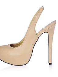 Women's Heels Spring Summer Slingback PU Office & Career Dress Stiletto Heel Black Skin