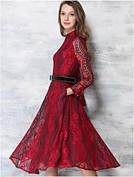 Feminino balanço Vestido, Para Noite Férias Sensual Moda de Rua Estampado Colarinho Chinês Altura dos Joelhos Manga Longa Azul Vermelho