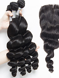 Indian Virgin Hair Loose wave With Closure Hair 4 Bundles With Ear to Ear Lace Closure Human Hair Extensions Deep Wave Curly With Closure