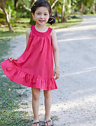 Girl's Going out Casual/Daily Holiday Solid Dress,Linen Bamboo Fiber Cotton Blend Summer Spring Fall Sleeveless