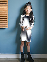Girl's Casual/Daily Solid Striped Dress,Rayon Mesh Spring Fall Long Sleeve