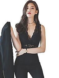 Débardeur Femme,Couleur Pleine Décontracté / Quotidien Travail Sexy Printemps Eté Sans Manches V Profond Blanc Noir Polyester Fin
