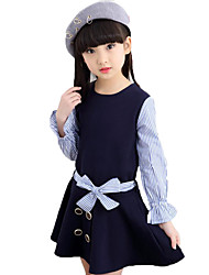 Girl's Solid Striped Patchwork Dress,Cotton Polyester Spring Fall Long Sleeve
