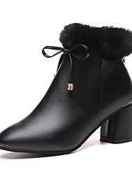 Women's Heels Fall Winter Fabric Casual Chunky Heel Lace-up Black Orange Gray