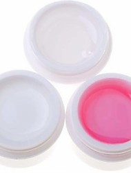 3PCS Nail Art Gel UV (1 Clear & 1 branco e 1 rosa)