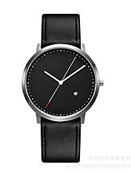 Men's Dress Watch Quartz Leather Band Black Brown Brand