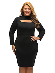 Women's Cut Out Long Sleeve Keyhole Bodycon Plus Size Dress