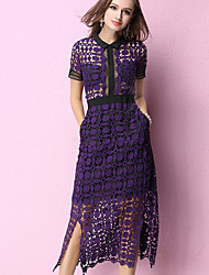 Women's Going out Holiday Sexy Cute Lace Dress,Solid Lace Cut Out Shirt Collar Midi Short Sleeve Cotton Polyester Purple Spring High Rise