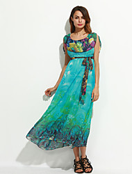 Women's Formal Vintage Swing Dress,Print Round Neck Maxi Sleeveless Blue Polyester Summer
