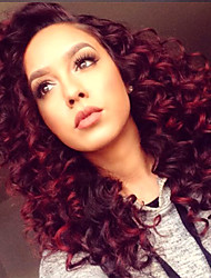 Heat Resistant Synthetic Lace Front Wigs Kinky Curly Hair Black Root Red Color Synthetic Fiber Hair Wig