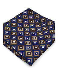 BH20 Men's Pocket Square Navy Blue Checked 100% Silk Business Casual Jacquard Woven For Men