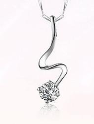 Pendentif Argent sterling Zircon Basique Original Mode Argent Bijoux Quotidien 1pc