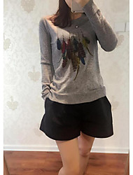 Women's Casual/Daily Simple Regular Cashmere,Animal Print Pink Beige Gray Round Neck Long Sleeve Cashmere Fall Winter Medium Micro-elastic