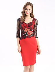 Maxlindy Women's Going out Casual/Daily Party Vintage Bodycon Lace Dress
