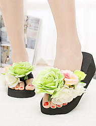 Women's Sandals Summer Platform Cotton Casual Wedge Heel Flower Blue / Yellow /