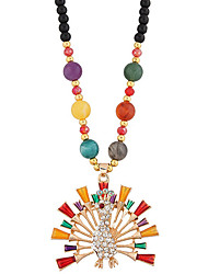 Necklace Pendant Necklaces Jewelry Peacock Euramerican Alloy Resin Rhinestone Women 1pc Gift Multi Color