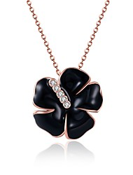 Women's Pendant Necklaces AAA Cubic Zirconia Zircon Gold Plated Rose Gold Plated Alloy FlowerUnique Design Flower Style Dangling Style
