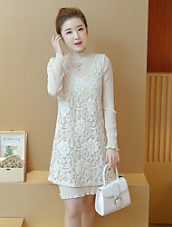 unterzeichnen neuen Frühling koreanischen Frauen mit langen Ärmeln Chiffon-Kleid zweiteilige Strickkleid Rock Weste Rock