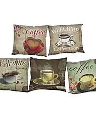 Set of 5  Retro coffee pattern Linen Pillowcase Sofa Home Decor Cushion Cover