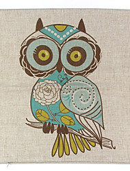 RayLineDo® Linen Cotton Square Throw Pillow Cover Owl Decorative Pillow Case CTJZ21-PC-BE