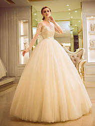 Ball Gown Illusion Neckline Floor Length Tulle Wedding Dress with Crystal Beading Pearl Lace Pattern by YUANFEISHANI