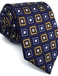 B20 Men Ties Navy Blue Checked 100% Silk Business New Fashion Wedding Dress For Men