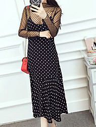 Women's Going out Casual/Daily Work Sexy Simple Cute Shift Dress,Solid Polka Dot Crew Neck Midi Long Sleeve Polyester Black SummerHigh
