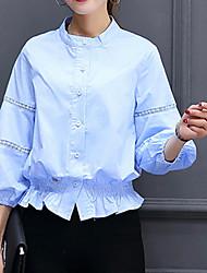 Feminino Camisa Social Para Noite Formal Trabalho Sensual Moda de Rua Sofisticado Primavera Verão,Sólido Azul Branco Laranja Amarelo