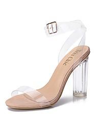 Damen-High Heels-Kleid Lässig Party & Festivität-PVC-Blockabsatz-Komfort Leuchtende Sohlen Club-Schuhe-Mandelfarben