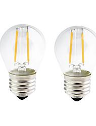 2W E26/E27 Lampadine LED a incandescenza G45 2 COB 200 lm Bianco caldo Intensità regolabile AC 220-240 AC 110-130 V 2 pezzi