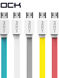 ROCK Original Micro USB Cable for Samsung/HTC/Meizu/Xiaomi/Huawei 1m Wired Charging Data Sync Flat USB Cables data for Android