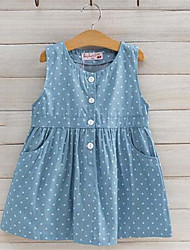 Robe Fille de Points Polka A Carreaux Coton Eté Sans Manches