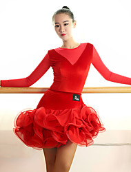 Latin Dance Outfits Women's Performance Tulle Velvet Ruched Splicing 2 Pieces Long Sleeve Natural Skirt Leotard