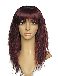 Kinky Curly Synthetic Wig With Neat Bangs Heat Resistant Women Party Wig Hairstyle With Cap