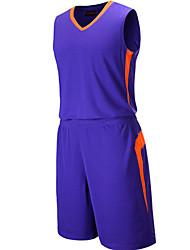 Men's Short Sleeve Basketball Running Sweatshirt Tops Baggy Shorts Breathable Sweat-wicking Comfortable White Purple White PurpleL XL XXL
