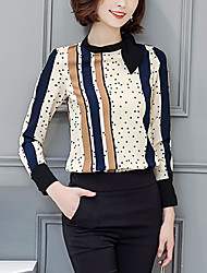 Women's Going out Street chic Shirt,Polka Dot Crew Neck Long Sleeve Brown Polyester