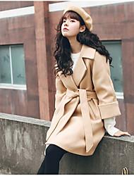 подписать новый корейский стеганые толстые шерстяные пальто с поясом верблюда шерстяное пальто темперамент