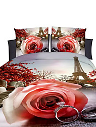 Mingjie 3D Reactive Other Flower Bedding Sets 4 Pcs for Queen Size Contain 1 Duvet Cover 1 Bedsheet 2 Pillowcases from China