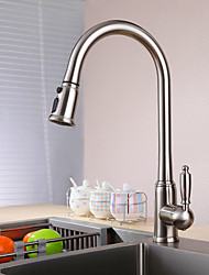 Contemporary Standard Spout Vessel Pullout Spray with  Ceramic Valve Single Handle One Hole for  Nickel Brushed , Kitchen faucet
