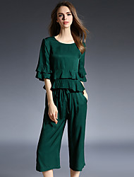 Sign 2016 spring new solid color simple short-sleeved T-shirt flounced piece pant suit
