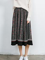 signe 2017 modèles de printemps rétro vent nationale rayé longue section de taille élastique jupes plissées