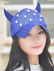 Spring And Summer New Women 'S Sequins Pearl Horns Baseball Caps Leisure Caps