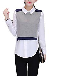 Feminino Camisa Social Para Noite Formal Trabalho Vintage Moda de Rua Sofisticado Todas as Estações Primavera,Retalhos Branco Outros